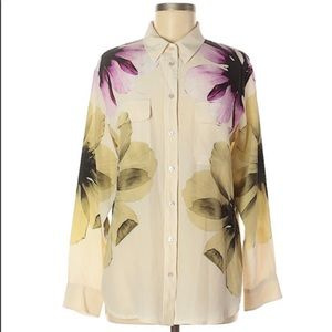 Floral Silk Equipment Femme Button Down Shirt